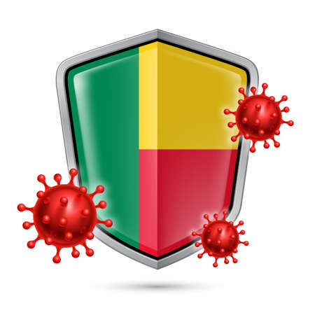 Flag of Benin on Metal Shiny Shield Icon and Red Corona Virus Cells. Concept of Health Care and Safety Badge. Security Safeguard Metal Label with Beninese flag