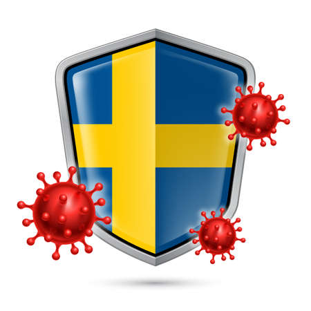 Flag of Sweden on Metal Shiny Shield Icon and Red Corona Virus Cells. Concept of Health Care and Safety Badge. Security Safeguard Metal Label with Swedish flag