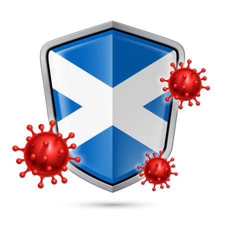 Flag of Scotland on Metal Shiny Shield Icon and Red Corona Virus Cells. Concept of Health Care and Safety Badge. Security Safeguard Metal Label with Scottish flag  イラスト・ベクター素材