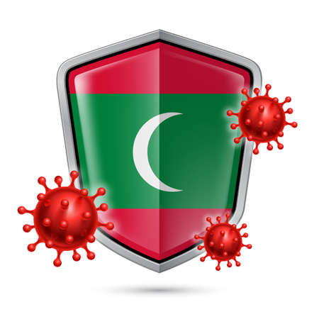 Flag of Maldives on Metal Shiny Shield Icon and Red Corona Virus Cells. Concept of Health Care and Safety Badge. Security Safeguard Metal Label with Maldivian flag