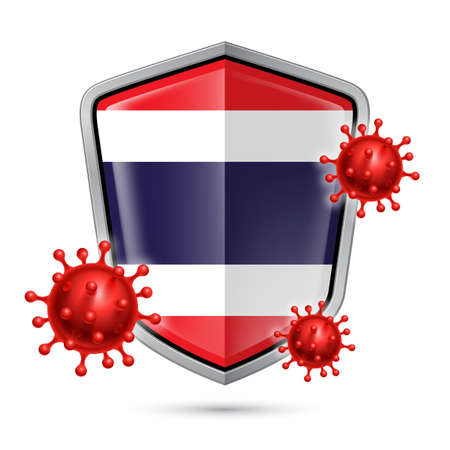 Flag of Thailand on Metal Shiny Shield Icon and Red Corona Virus Cells. Concept of Health Care and Safety Badge. Security Safeguard Metal Label with Thail flag