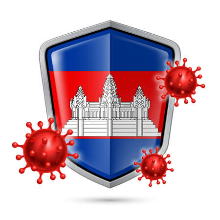 Flag of Cambodia on Metal Shiny Shield Icon and Red Corona Virus Cells. Concept of Health Care and Safety Badge. Security Safeguard Metal Label with Cambodian flag