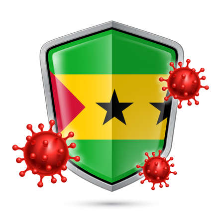 Flag of Sao Tome and Principe on Metal Shiny Shield Icon and Red Corona Virus Cells. Concept of Health Care and Safety Badge. Security Safeguard Metal Label with flag design