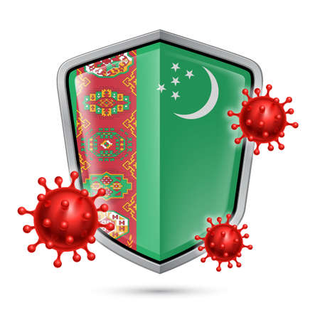 Flag of Turkmenistan on Metal Shiny Shield Icon and Red Corona Virus Cells. Concept of Health Care and Safety Badge. Security Safeguard Metal Label with Turkmenian flag