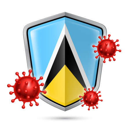 Flag of Saint Lucia on Metal Shiny Shield Icon and Red Corona Virus Cells. Concept of Health Care and Safety Badge. Security Safeguard Metal Label with flag design  イラスト・ベクター素材