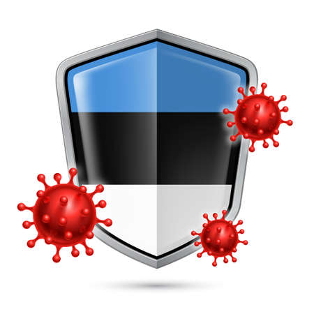 Flag of Estonia on Metal Shiny Shield Icon and Red Corona Virus Cells. Concept of Health Care and Safety Badge. Security Safeguard Metal Label with Estonian flag