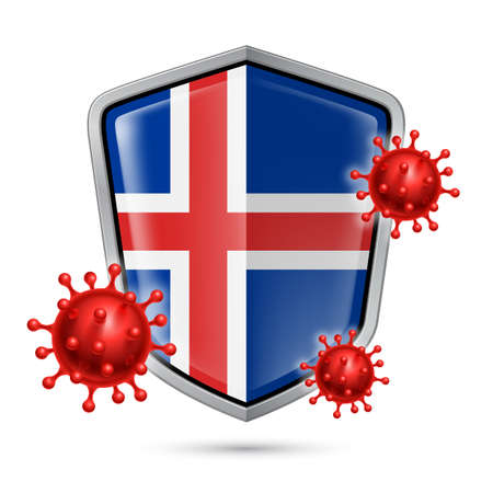 Flag of Iceland on Metal Shiny Shield Icon and Red Corona Virus Cells. Concept of Health Care and Safety Badge. Security Safeguard Metal Label with Icelandic flag