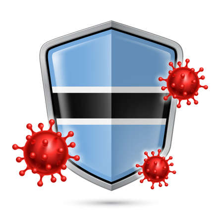 Flag of Botswana on Metal Shiny Shield Icon and Red Corona Virus Cells. Concept of Health Care and Safety Badge. Security Safeguard Metal Label with flag design