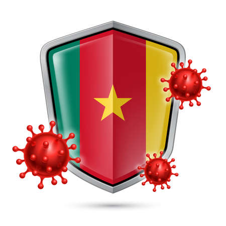 Flag of Cameroon on Metal Shiny Shield Icon and Red Corona Virus Cells. Concept of Health Care and Safety Badge. Security Safeguard Metal Label with Cameroonian flag