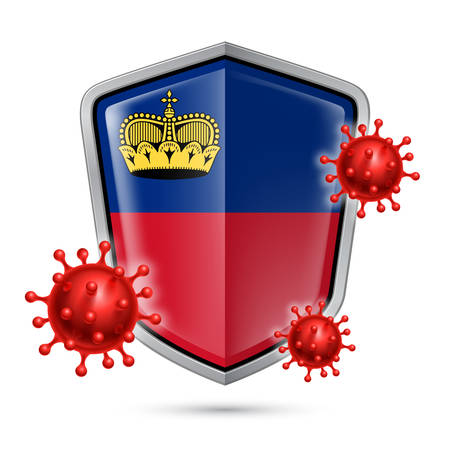 Flag of Liechtenstein on Metal Shiny Shield Icon and Red Corona Virus Cells. Concept of Health Care and Safety Badge. Security Safeguard Metal Label with flag colors