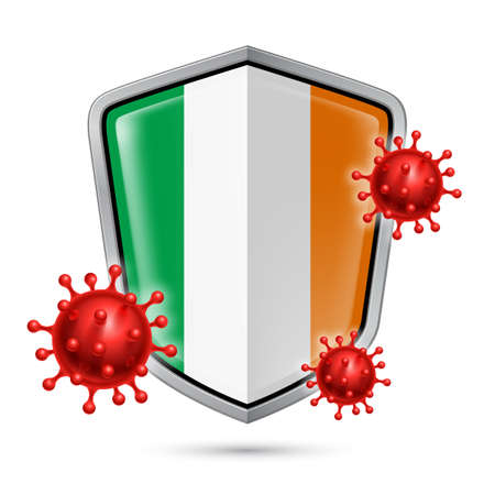 Flag of Ireland on Metal Shiny Shield Icon and Red Corona Virus Cells. Concept of Health Care and Safety Badge. Security Safeguard Metal Label with Irish flag  イラスト・ベクター素材