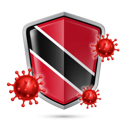 Flag of Trinidad and Tobago on Metal Shiny Shield Icon and Red Corona Virus Cells. Concept of Health Care and Safety Badge. Security Safeguard Metal Label with flag colors