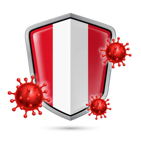 Flag of Peru on Metal Shiny Shield Icon and Red Corona Virus Cells. Concept of Health Care and Safety Badge. Security Safeguard Metal Label with Peruvian flag