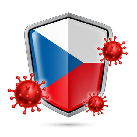 Flag of Czech Republic on Metal Shiny Shield Icon and Red Corona Virus Cells. Concept of Health Care and Safety Badge. Security Safeguard Metal Label with Czech flag 矢量图像