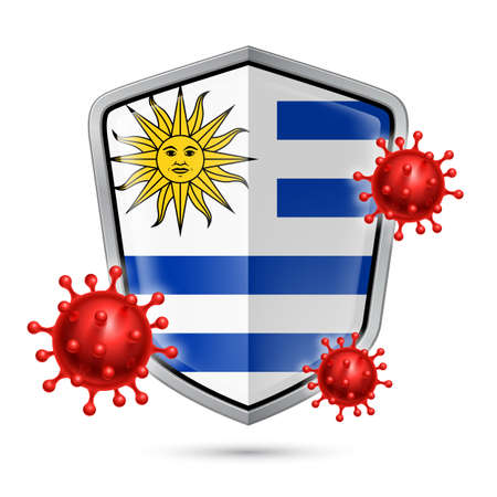 Flag of Uruguay on Metal Shiny Shield Icon and Red Corona Virus Cells. Concept of Health Care and Safety Badge. Security Safeguard Metal Label with Uruguayan flag