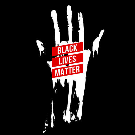 Bloody Hand, Design Concept for Stand Against Racial Injustice. Protest Banner about the Human Rights of Black People.  Poster or Sticker Against Racism and Police Abuse on Black 向量圖像