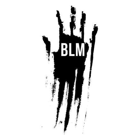 Bloody Hand in Black Color, Design Concept for Stand Against Racial Injustice. Protest Banner about the Human Rights of Black People.  Poster or Sticker Against Racism and Police Abuse 向量圖像