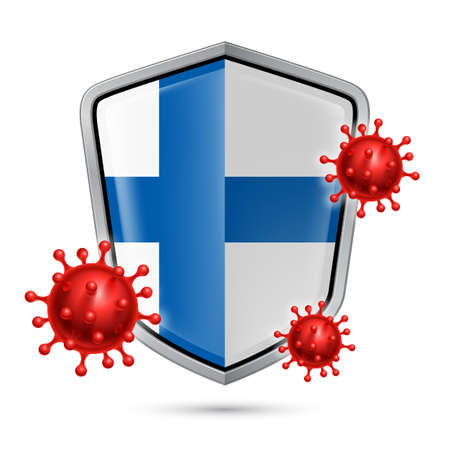 Flag of Finland on Metal Shiny Shield Icon and Red Corona Virus Cells. Concept of Health Care and Safety Badge. Security Safeguard Metal Label with Finland flag  イラスト・ベクター素材