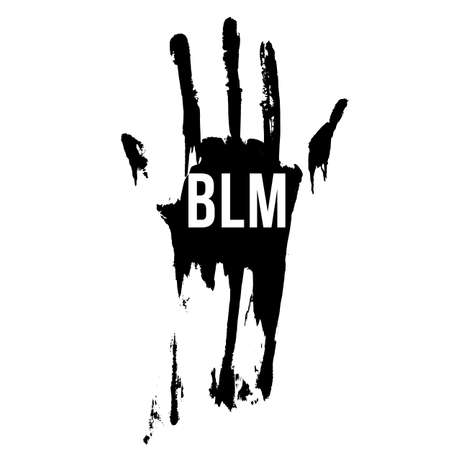 Bloody Hand in Black Color, Design Concept for Stand Against Racial Injustice. Protest Banner about the Human Rights of Black People. Poster or Sticker Against Racism and Police Abuse on White