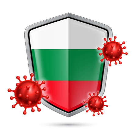 Flag of Bulgaria on Metal Shiny Shield Icon and Red Corona Virus Cells. Concept of Health Care and Safety Badge. Security Safeguard Metal Label with Bulgarian flag