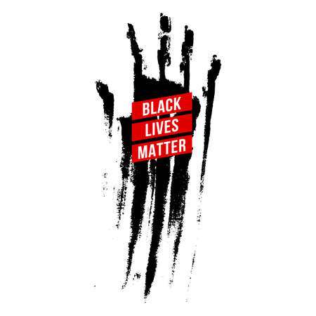 Black Bloody Hand, Design Concept for Stand Against Racial Injustice. Protest Banner about the Human Rights of Black People.  Poster or Sticker Against Racism and Police Abuse on White