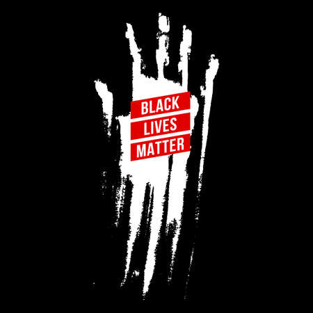Bloody Hand, Design Concept for Stand Against Racial Injustice. Protest Banner about the Human Rights of Black People.  Poster or Sticker Against Racism and Police Abuse on Black Background
