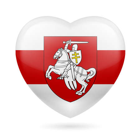Illustration of The Heart-Shaped Horse Rider, Pahonia. Historical Coat of Arms of Belarus and the Grand Duchy of Lithuania