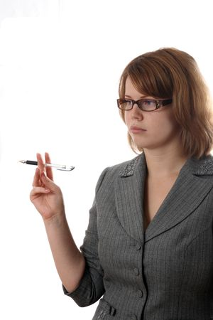 businesslady: The Young businesslady with pen