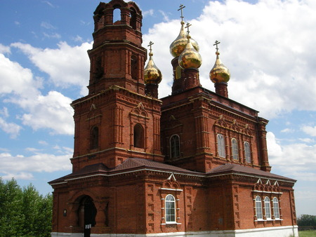 lamaism: Cult constructions for religious practices of Christians wooden and stone with domes with crosses Stock Photo