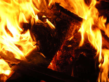 burns night: The night fire burns and smokes burning everything on the way