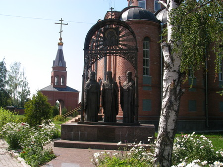 erected: The monument to prelates Kazan is erected about an Orthodox church in Tatarstan.