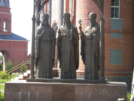 lamaism: The monument to prelates Kazan is erected about an Orthodox church in Tatarstan.