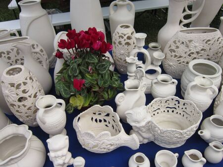 spassky: Beautiful figured vases are made by skillful masters for sale at Spassky fair Stock Photo