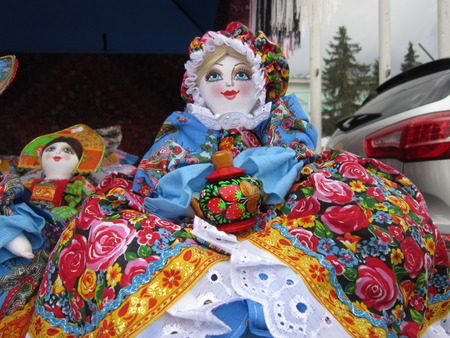 kokoshnik: Products of national creativity doll rag multi-colored from bylinas and fairy tales Stock Photo