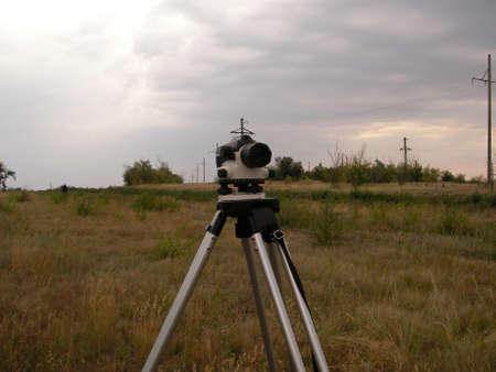 plumb: Making of the route for a power line in the steppe