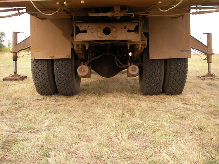 emphasis: Cargo wheel special equipment at work in the field