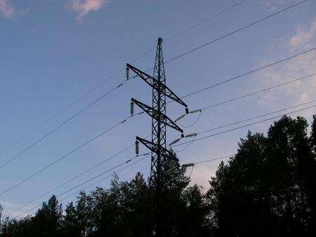 alternating: High-voltage alternating current transmission line Stock Photo