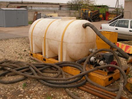 when: C barrel the pump for supply of liquid in a well when drilling Stock Photo