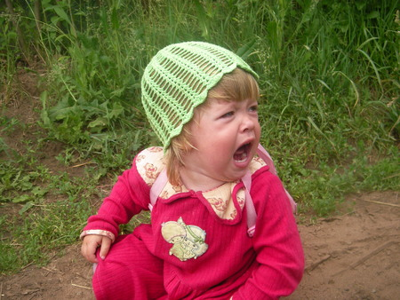 The little girl fell and bitterly cries with offense and pain