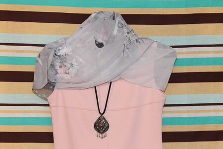 summer dress: elegant summer pink dress with an easy transparent scarf
