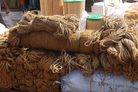 household goods: Brooms, ropes, baskets and other household goods from environmentally friendly materials are on sale in flea markets Stock Photo
