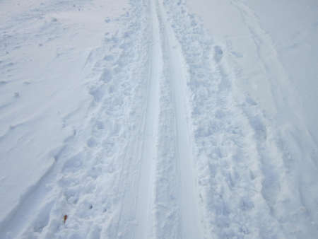 ski track: The Nayezzhenny ski track is laid out on deep white creaking snow