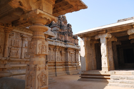 similar: All temples in Hampi are similar, built in uniform style. The temple Bala-Krishna not an exception, nevertheless, here besides attracts attention the gateway temple gapura the sculptures carved columns and bas-reliefs.