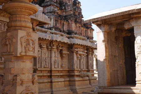 exception: All temples in Hampi are similar, built in uniform style. The temple Bala-Krishna not an exception, nevertheless, here besides attracts attention the gateway temple gapura the sculptures carved columns and bas-reliefs.
