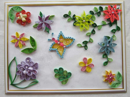 bead embroidery: The picture is made of the slices of paper twisted by ringlets