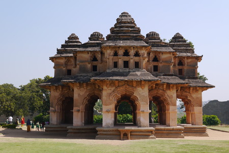 siege: The temple of the Lotus is one of the few beautiful buildings, almost not victims during a siege of the city of Hampi. Stock Photo