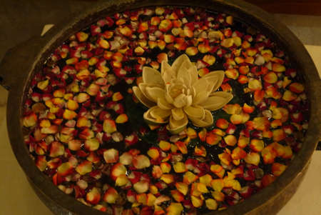 lavabo: bowl for lavabo with a flower of a lotus and petals of roses