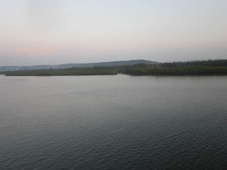 the decline: landscape with a decline over the deep river