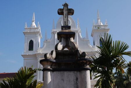 catholic symbol: The operating Catholic temple in the state of Goa in India Stock Photo