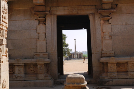 truncated: In the Hindu temple of Vishnu on an entrance there is a sacrificial stone in the form of the truncated pyramid Stock Photo